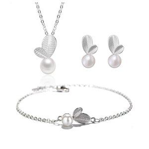 NEW[Set of 3] Sterling Silver Leave Pearl Set
